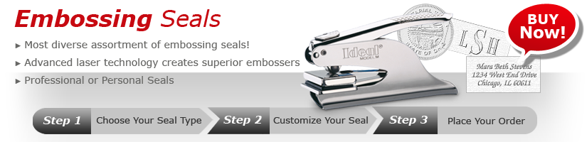 The choice for custom embossing seals and embossers. Fast shipping and great pricing. Order your custom embosser online or call us today. We are ready to serve you at A to Z Rubber Stamps