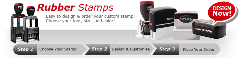 Order your custom rubber stamp today from A to Z Rubber stamps. Create your own custom stamp with custom text, logo or upload your own artwork. Fast shipping