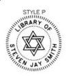 ES-LIB-P - Library of with Star of David Embossing Seal
