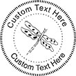 Dragonfly Embossing Seal. Choose your mount and view your custom text in a live preview. Find all your custom embossing needs at Embossingseal.com