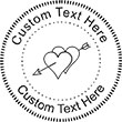 Heart-4 Embossing Seal. Choose your mount and view your custom text in a live preview. Find all your custom embossing needs at Embossingseal.com