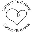 Heart-6 Embossing Seal. Choose your mount and view your custom text in a live preview. Find all your custom embossing needs at AtoZstamps.com