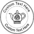 Teapot Embossing Seal. Choose your mount and view your custom text in a live preview. Find all your custom embossing needs at atozstamps.com
